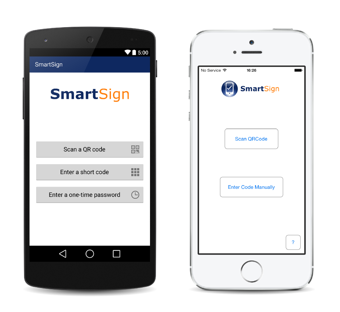 SmartSign smartphone 2-factor authentication app for secure login to websites and web applications